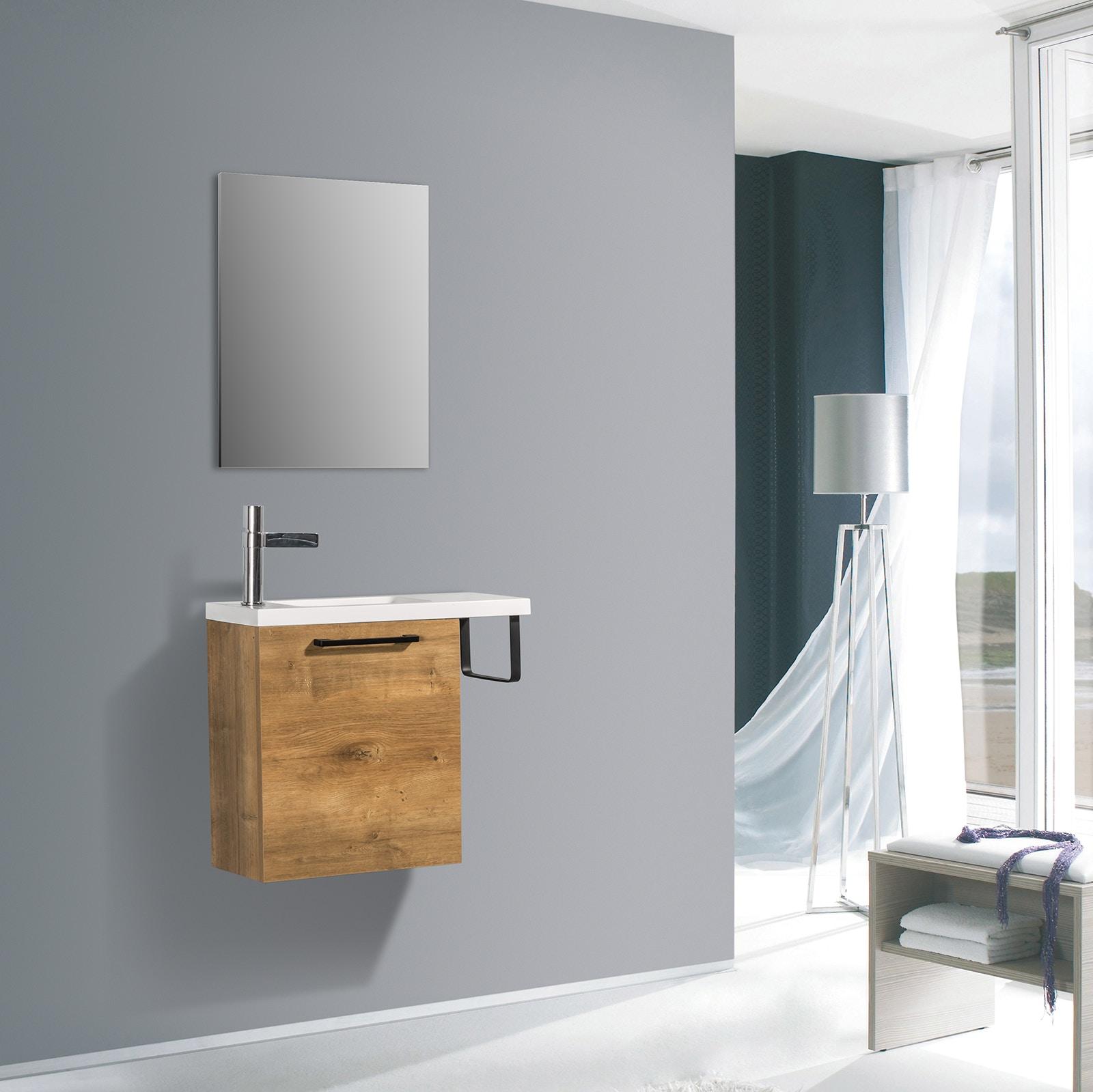 Meuble lave-mains avec porte serviette intégré TABLO 400 dans différentes couleurs - armoire de toilette en option