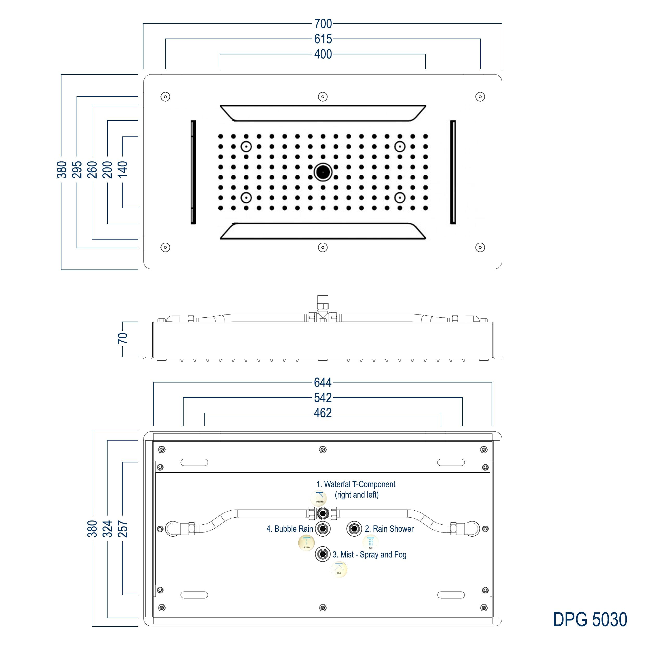 XXL-Regendusche Edelstahl-Deckenbrause DPG5030 superflach - 70 x 38 cm - Deckeneinbau zoom thumbnail 6