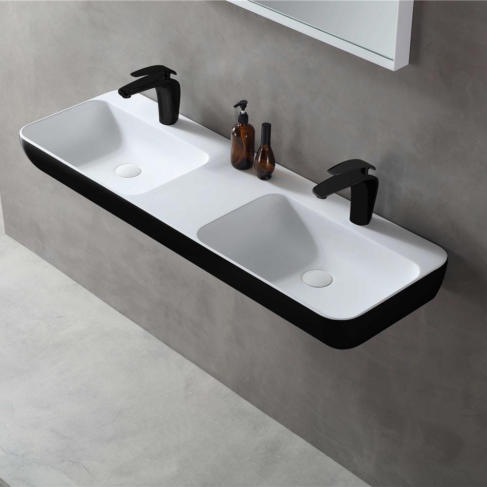Wandwaschbecken Aufsatzwaschbecken TWG203 aus Mineralguss Solid Stone – Schwarz / Weiß matt – 120x40x12cm