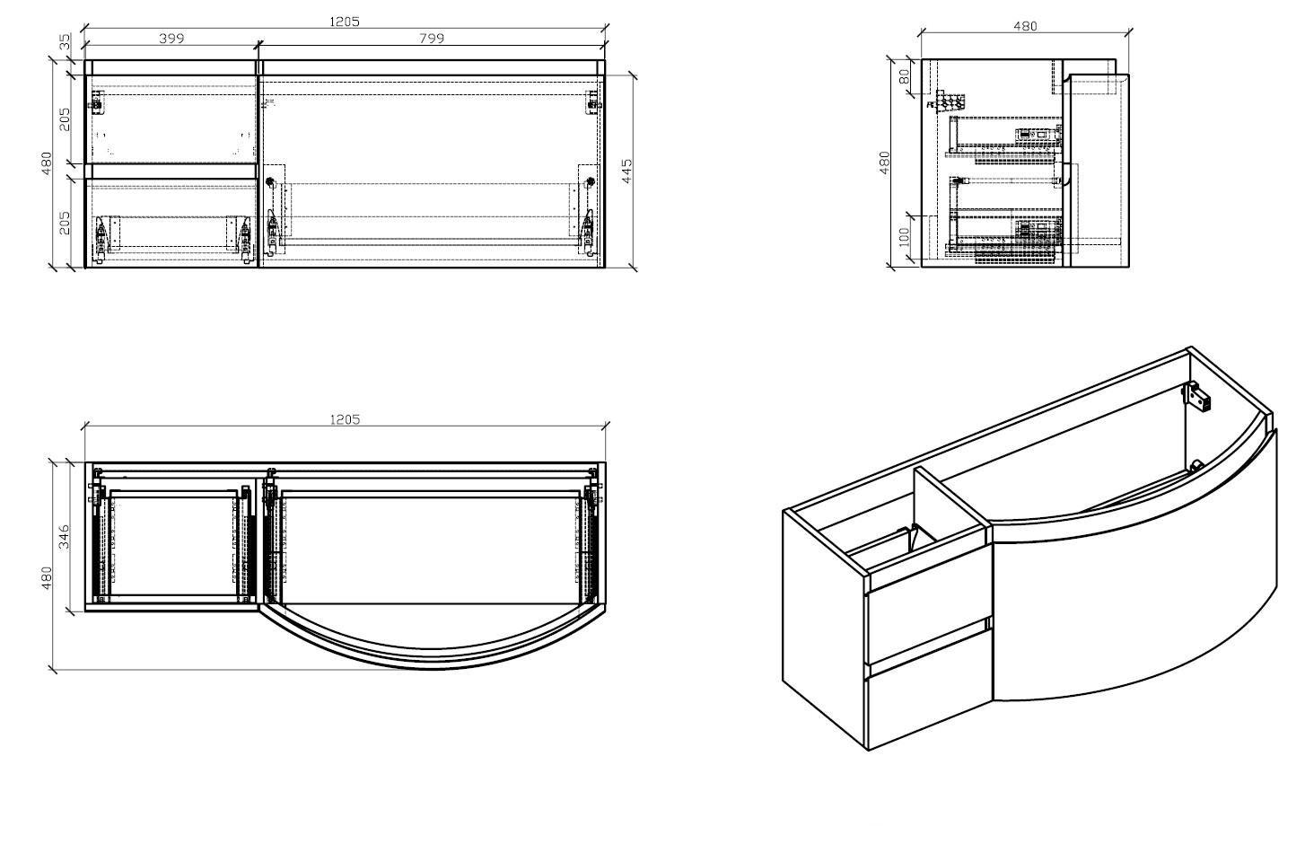 Badmöbel Set LAURANCE 1200 Weiß Hochglanz - geschwungene Form zoom thumbnail 6
