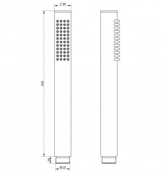 Hochwertige Stabhandbrause HB10R - Runde Handbrause mit Anti-Kalk-Noppen